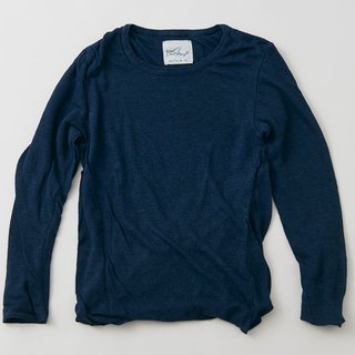 Linen knit women / M long sleeve pullover navy