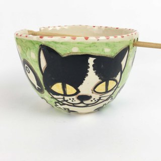 Nice Little Clay Handmade Bowl_Happy Flower Cat 0201-15