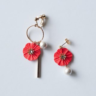 Hoop and flower earrings / earrings / red