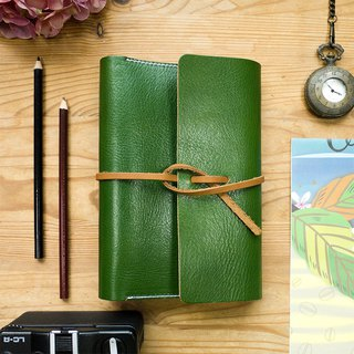 Handmade green genuine leather book cover with blank notebook inside