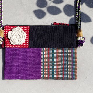 A limited edition hand-woven natural spliced ​​messenger bag / backpack / shoulder bag / bag / bag - purple world geometry ethnic patchwork design
