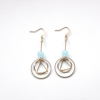 Brass Earrings | Blue Chalcedony | Geometric Ear Pins / Ear Clips