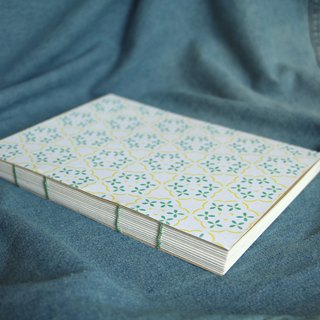 flower pattern handmade book (Green flower in Yellow)