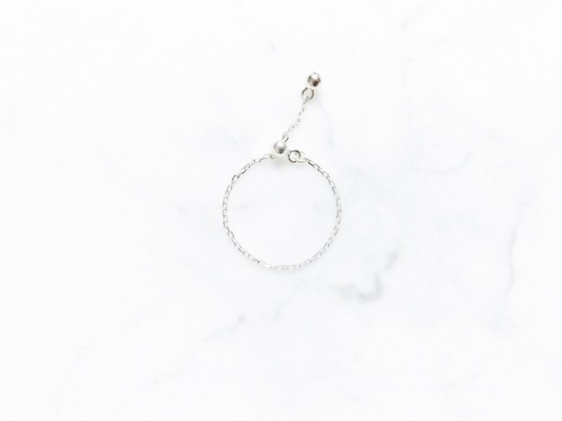 ::Shimmer Light Chain Rings:: Plain Face Cut, Sterling Silver Adjustable Chain Link