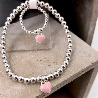S11002 Sweet Heart Silver 925 Bracelet and Ring Set (B10038 & R11032)