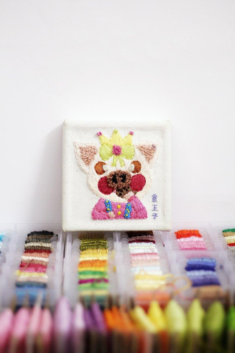 粉紅色小豬【食王子】刺繡畫食系列10*10cm-【巫貓牌】-獨立原創手作