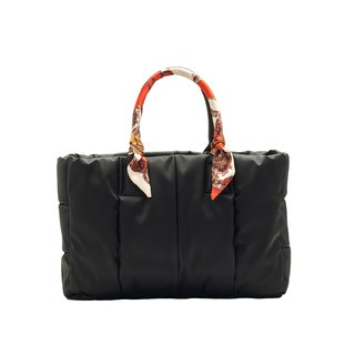 VOUS mother bag classic series foggy black + red round scarf