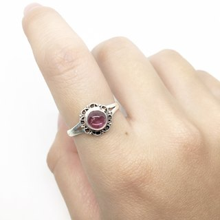 Pink tourmaline 925 sterling silver rings Nepal handmade lace inlay production