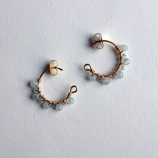 14 kgf aquamarine x vintage beads petit hoop earrings OR ear clip
