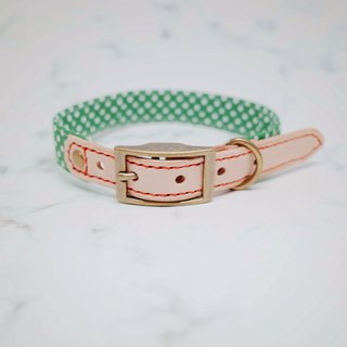 Dog collars, M size, Bright green dots_DCT090446