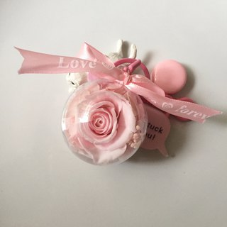 // Sweetheart// Pink Permanent Flower Rose Keyring / Gift