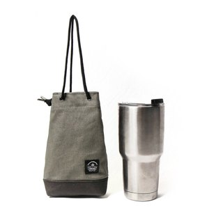 Point bag [icleaXbag] beverage bag simple drink accompanying bag can be lettering gray green