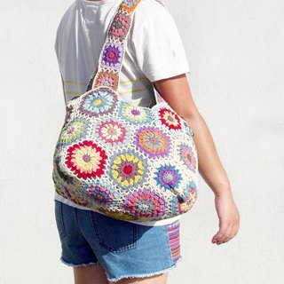 Valentine's handmade limited edition handmade crochet side backpack / shoulder bag / Tote bag / Crossbody - Scandinavian colorful flowers forest