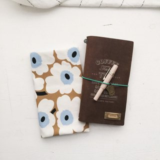Pop style flower handmade book / book cover - brown (for TN skin)