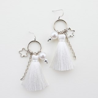 White tassel earrings with silver charms