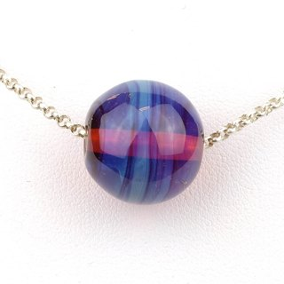 Lavender Ball Handmade Lampwork Glass Sterling Silver Necklace