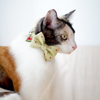 Polka-dot of summer - Breakaway cat cotton collar with Watermelon Charm
