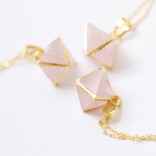 Rose quartz necklace - natural crystal necklace 18k gold plated crystal choker
