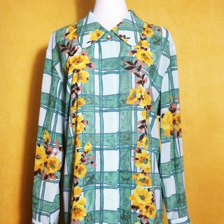Ping-pong vintage [vintage shirt / watercolor flowers Long-sleeved plaid shirt vintage] abroad back VINTAGE
