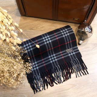 Back to Green :: BURBERRY black Cashmaire 100% vintage scarf (SSC-04)