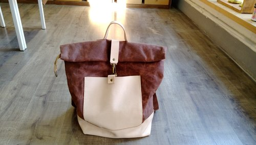 Leather + paraffin canvas backpack