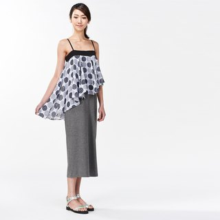 Dress thin shoulder strap flat wave long ocean _ gray circle chiffon