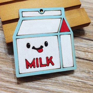 Nutritious breakfast - milk naughty wooden key ring Charm