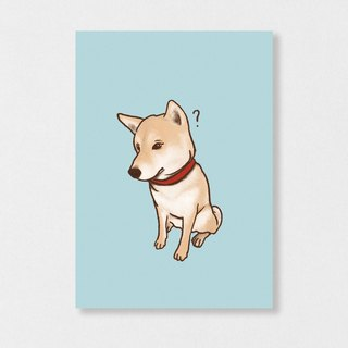 """Shiba Inu - doubt"" Planet Flies / Shiba Inu / wool kids / illustration postcards / Hands Bazaar"