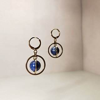 / Cosmic Galaxy Mercury - lapis lazuli - noble / brass earrings