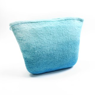 Handmade blue gradient wool felt wet felt universal cosmetic bag / landscape