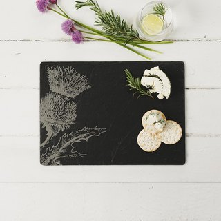 British Selbrae House natural black slate long cutting board / tray 35 cm (蓟花款) - spot