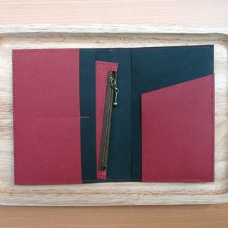 l Travel season discount l red x black washed kraft paper | passport holder with a wallet