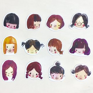 Cute girl emoticon sticker pack