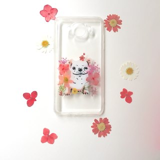 Pink flower with a small law bucket :: dry flower hand-painted animal phone shell