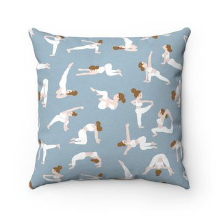 Yoga girl plush pillow - with pillow core sky blue