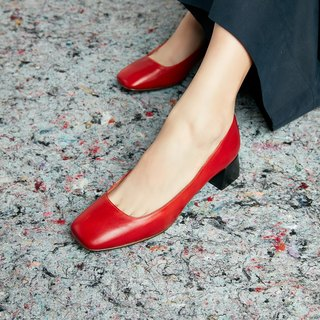 H THREE Classic Square Heel Shoes / Chili Red / Red / Thick Heel / Vintage