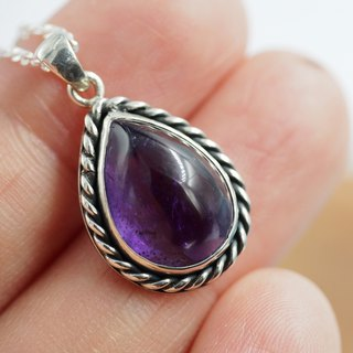 [Maya Tara] natural amethyst sterling silver short necklace thick purple handmade