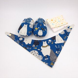 Big white bear (blue bottom) - Miyue baby gift box (toddler shoes / baby shoes / baby shoes + 2 handkerchief + scarf)