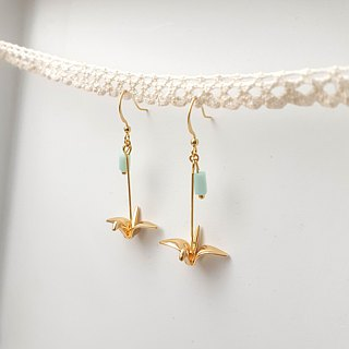 Copper-plated paper cranes 18K gold earrings ear hooks