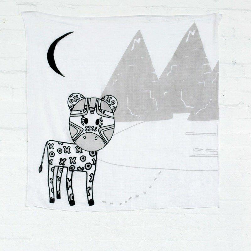 澳洲Kippins有機棉包巾 -班尼斑馬 BAM MUSLIN WRAP & SNOOZE