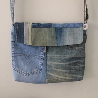 [booboohug] remade series> Used jeans stitching backpack patchwork bag