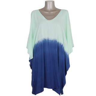Sea colored gradation butterfly sleeve one piece <mint blue>