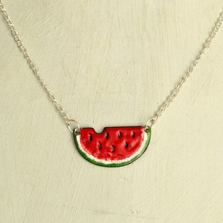 Watermelon enamel necklace, based on copper