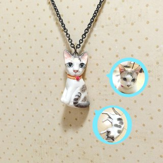 3D Custom cat portraits necklaces - Full body, Custom cat necklaces