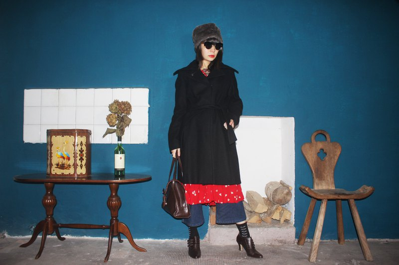 Black Wool Coat with Waistband
