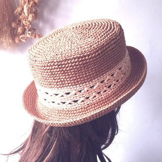 Fate came to hand-knit flat-topped 㡌 / paper Rafi straw hat / straw hat / hand hat〗 〖hopscotch crazy house