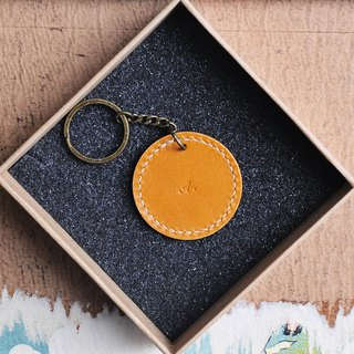 Classic round keyring leather material bag well stitched key chain Italian leather vegetable tanned leather DIY