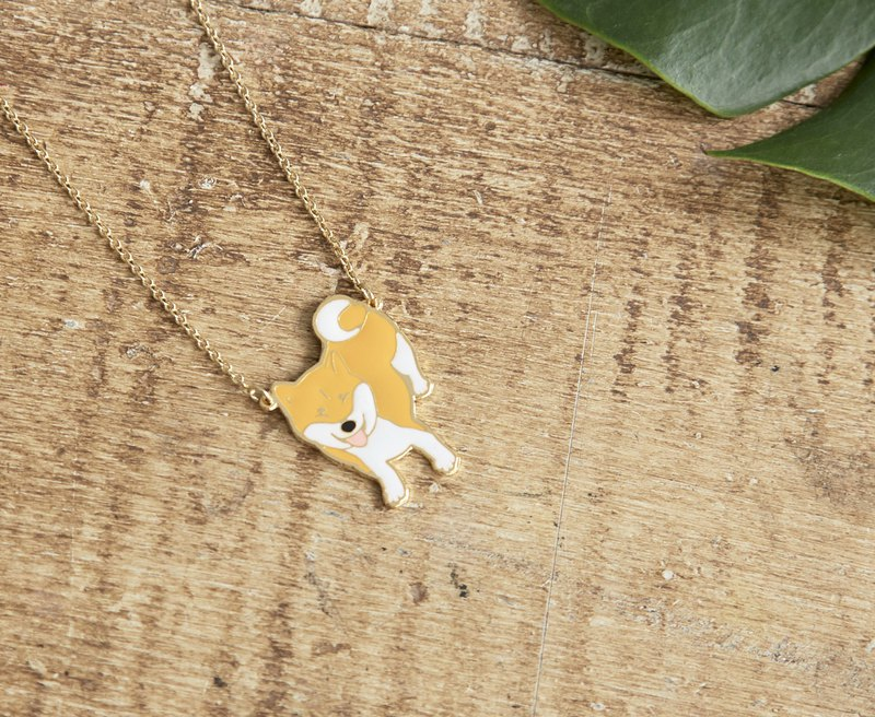 Little Oh Tiny Rice Balls Joint Smile Smile Wood Handmade Necklace Cream Shiba Necklace
