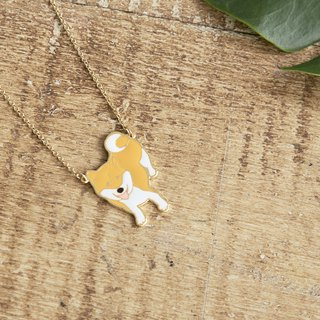Little Oh Tiny Rice Balls Joint Smile Laughing Handmade Necklace Cream Shiba Inu Necklace