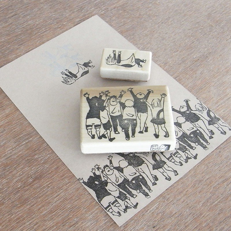 Handmade rubber stamp Toss into the air